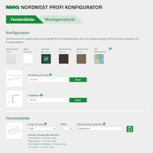 Screenshot Nordwest Profi Fensterbank-Konfigurator